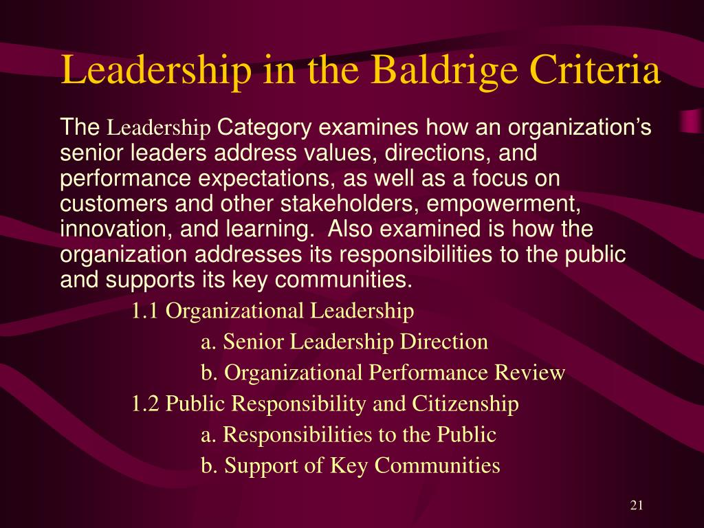 Leadership in the Baldrige Criteria