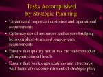 tasks accomplished by strategic planning
