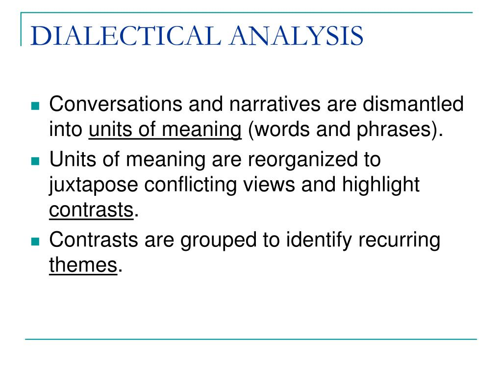 DIALECTICAL ANALYSIS