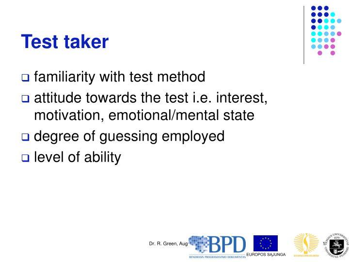 Test taker