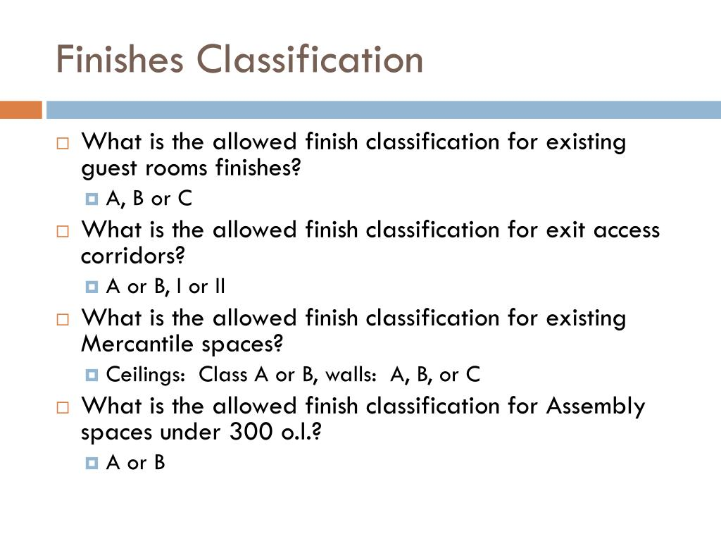 Finishes Classification