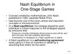 nash equilibrium in one stage games