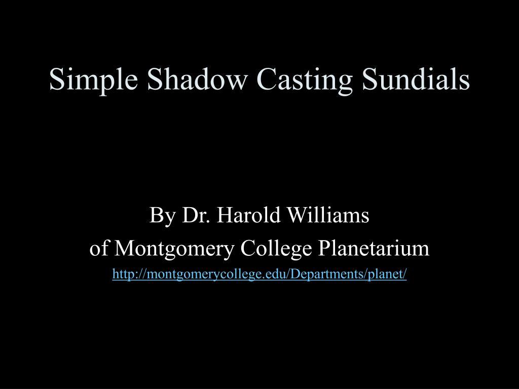 Simple Shadow Casting Sundials