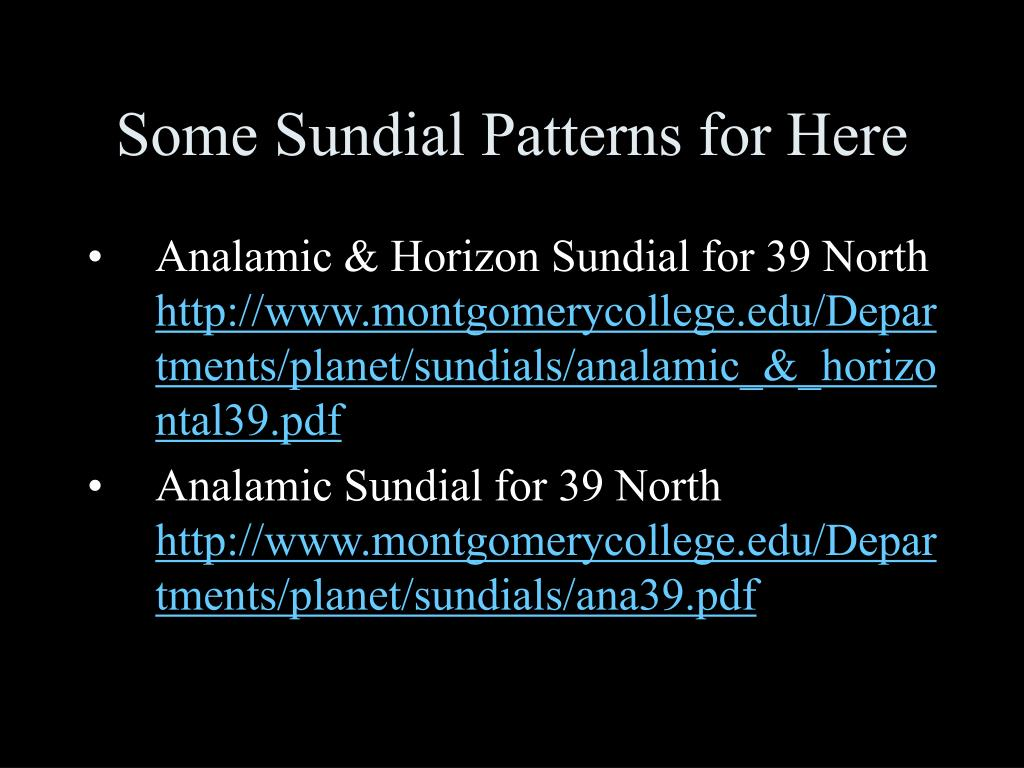 Some Sundial Patterns for Here