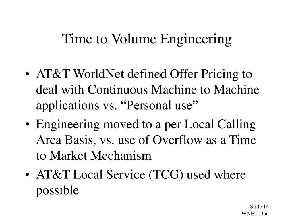 Time to Volume Engineering
