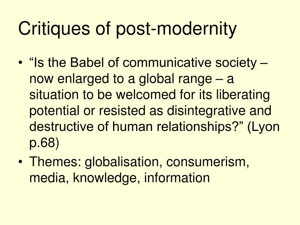 Critiques of post-modernity