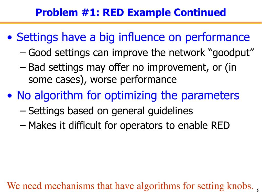 Problem #1: RED Example Continued
