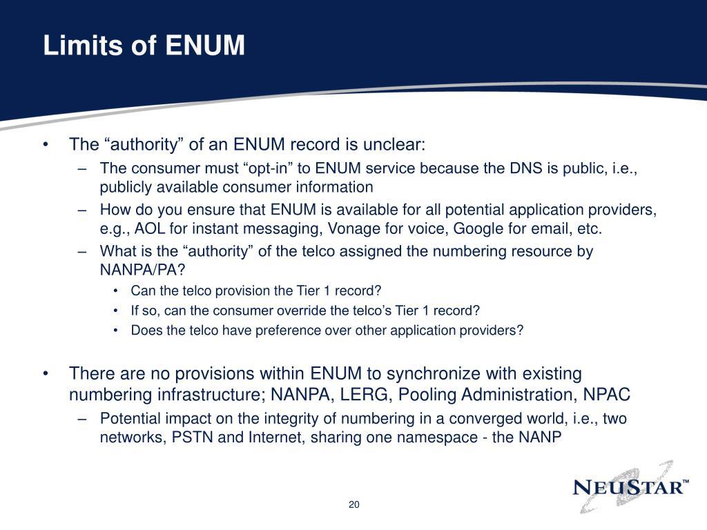 Limits of ENUM