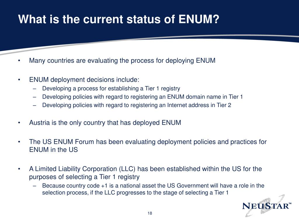 What is the current status of ENUM?