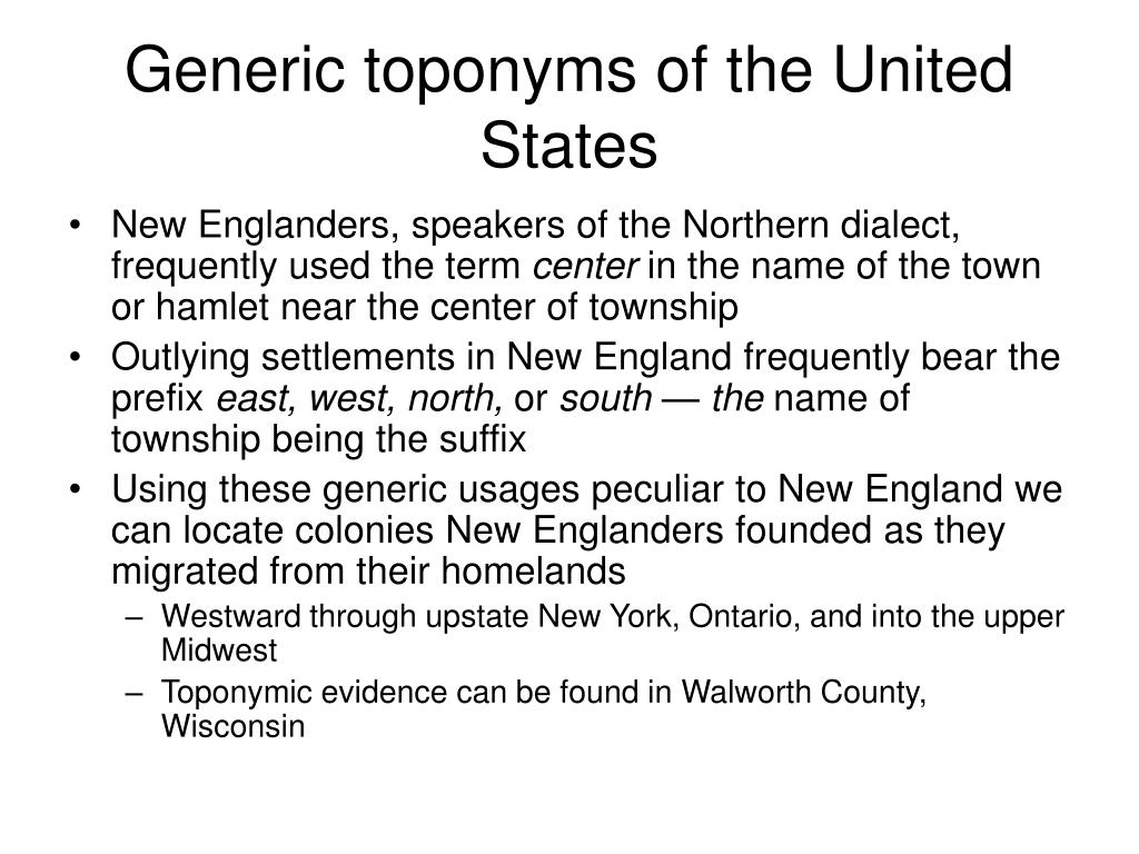 Generic toponyms of the United States