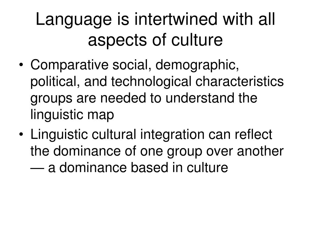 Language is intertwined with all aspects of culture