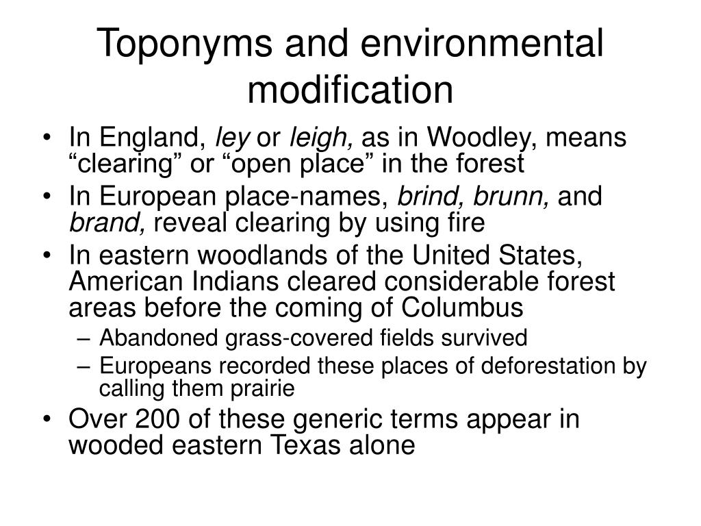 Toponyms and environmental modification