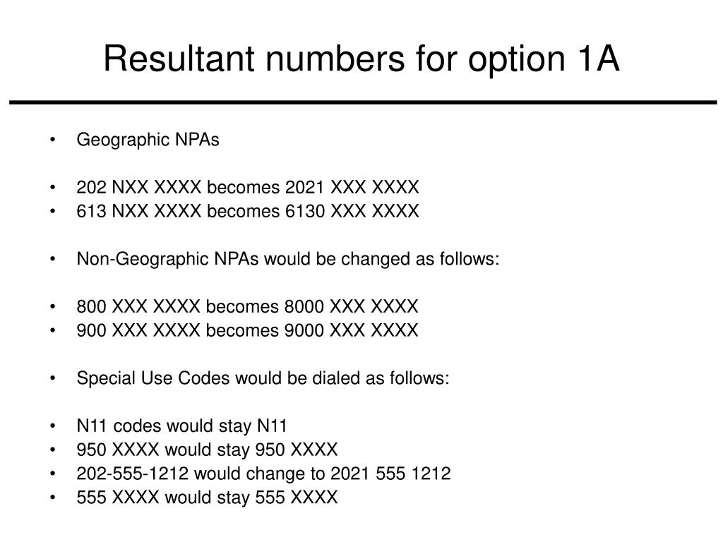 Resultant numbers for option 1A