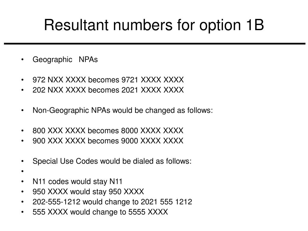 Resultant numbers for option 1B