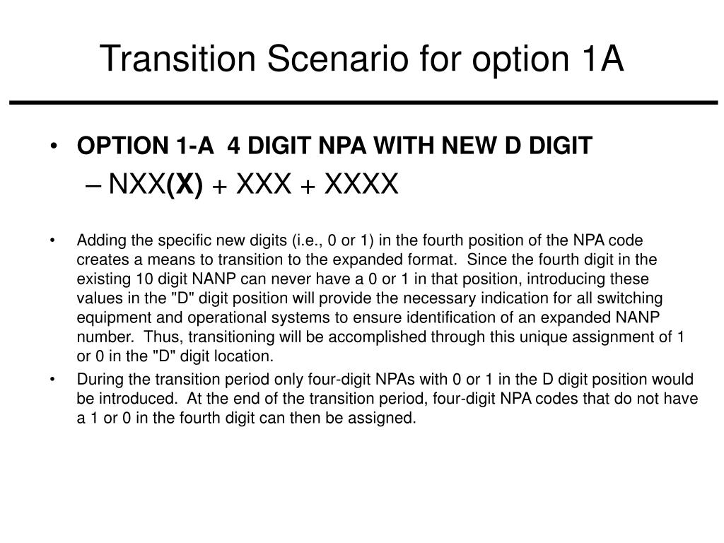 Transition Scenario for option 1A