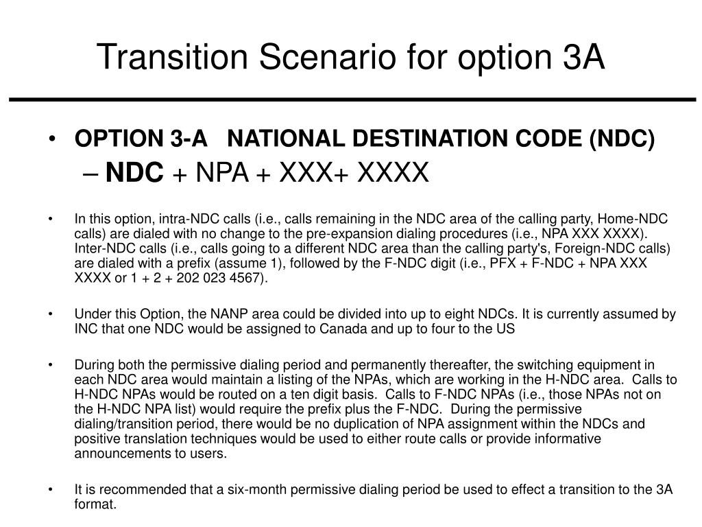Transition Scenario for option 3A