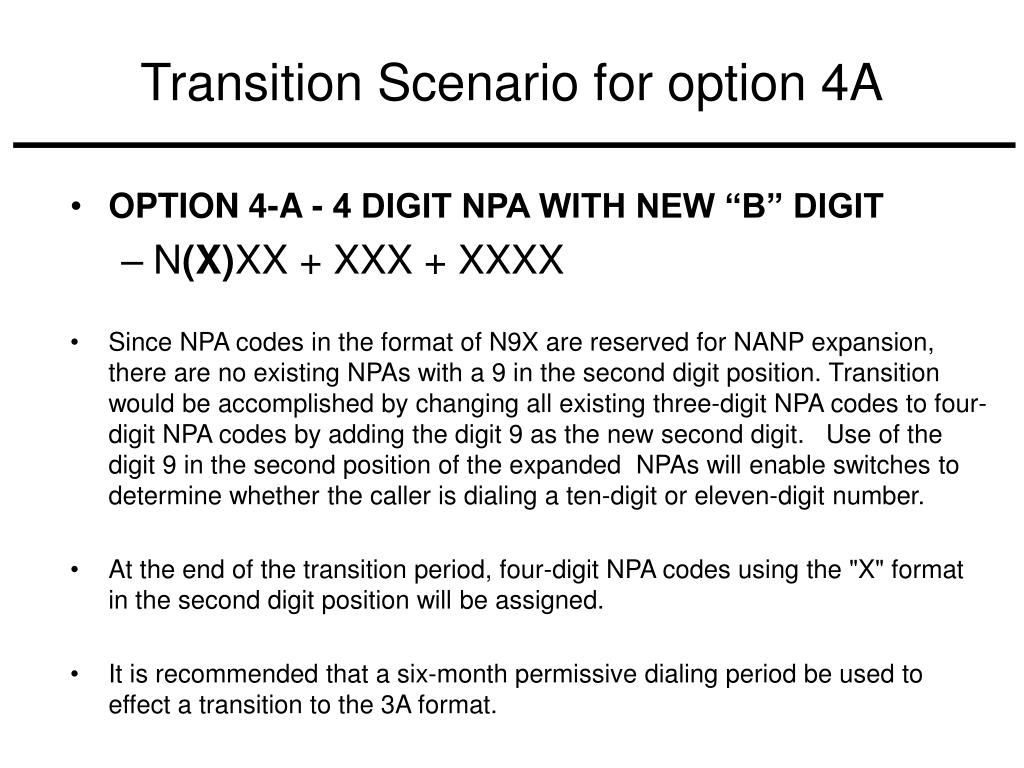 Transition Scenario for option 4A
