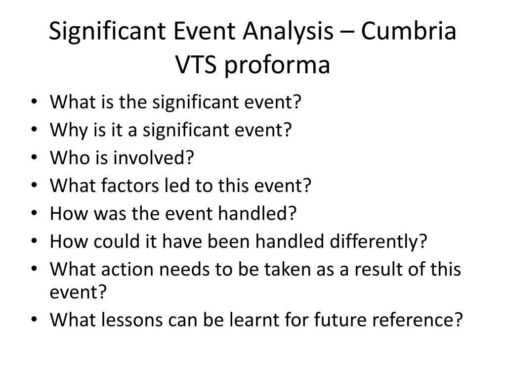 Significant Event Analysis – Cumbria VTS proforma