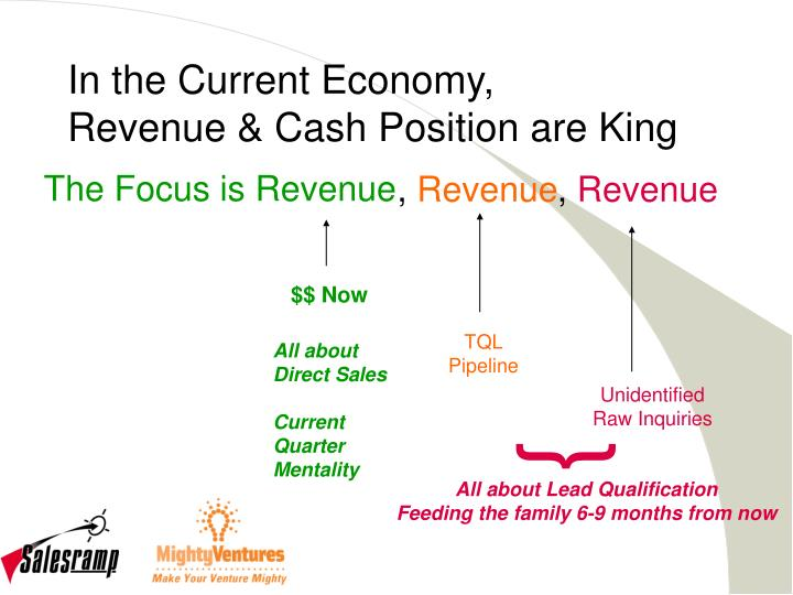In the current economy revenue cash position are king