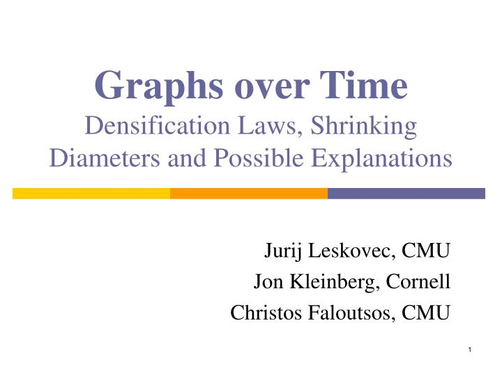 Graphs over time densification laws shrinking diameters and possible explanations
