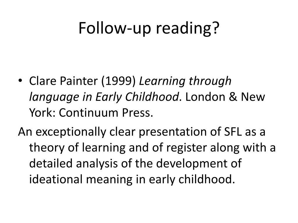 Follow-up reading?