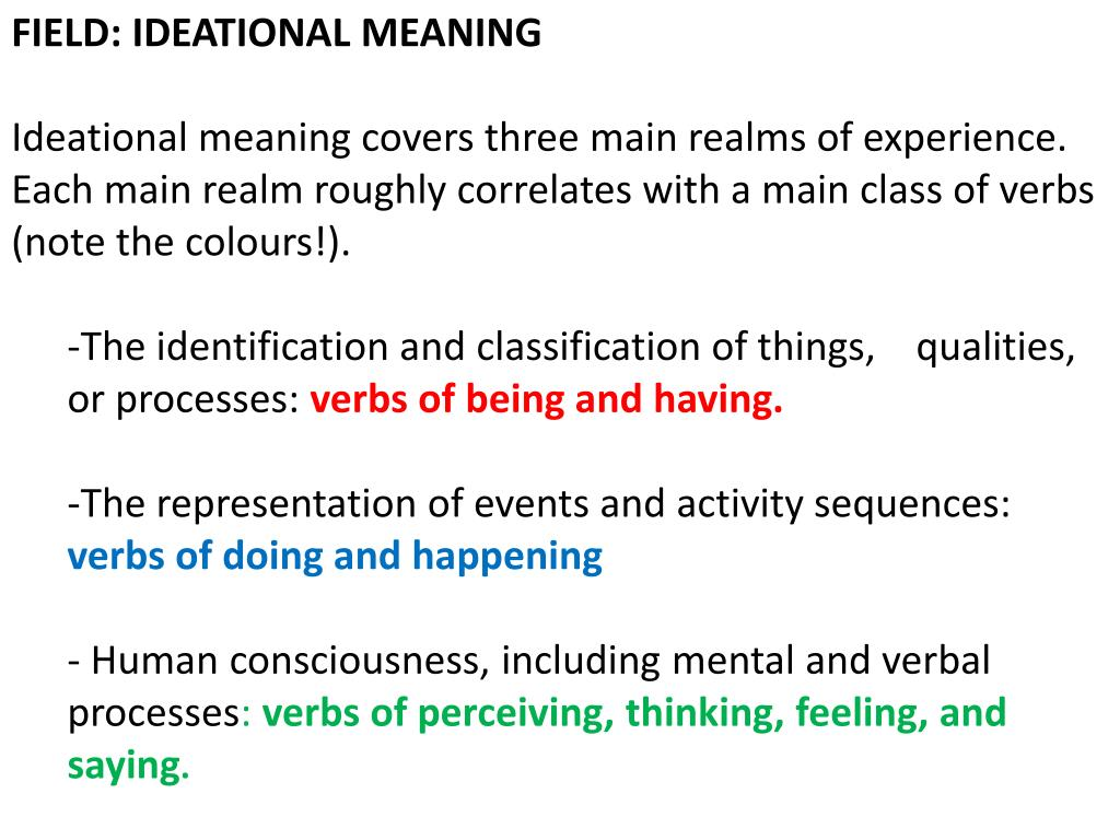 FIELD: IDEATIONAL MEANING