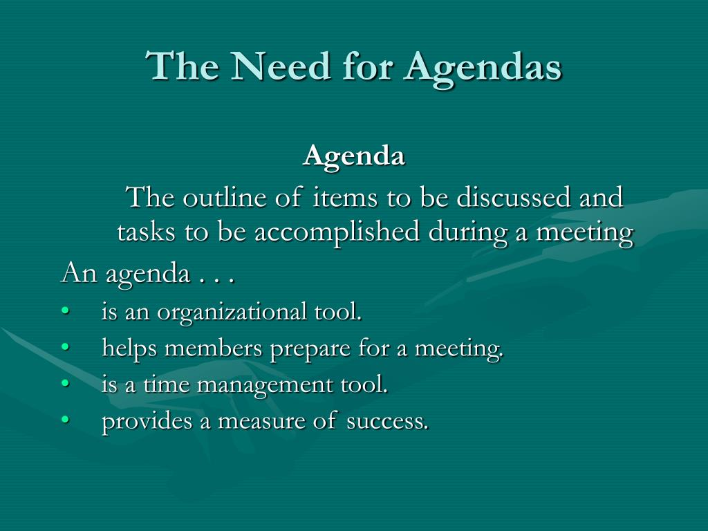The Need for Agendas
