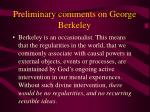 preliminary comments on george berkeley7