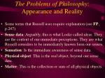 the problems of philosophy appearance and reality