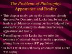 the problems of philosophy appearance and reality31
