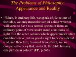 the problems of philosophy appearance and reality33