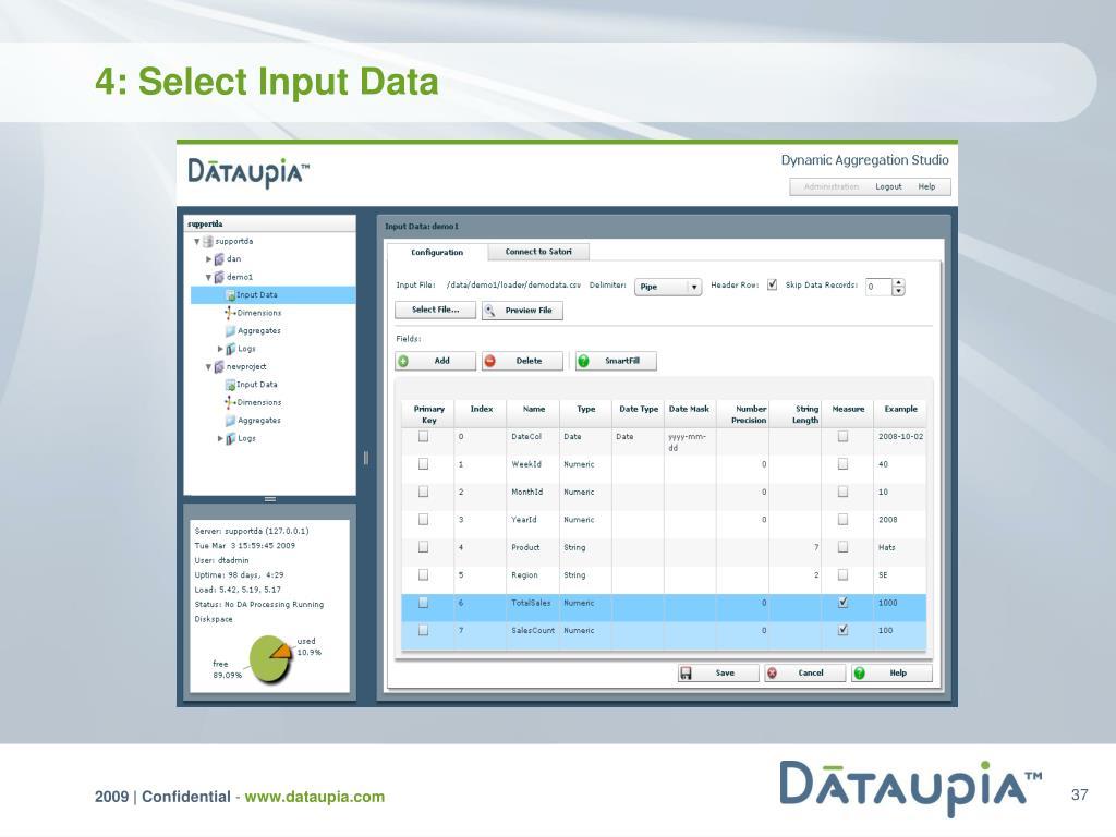 4: Select Input Data