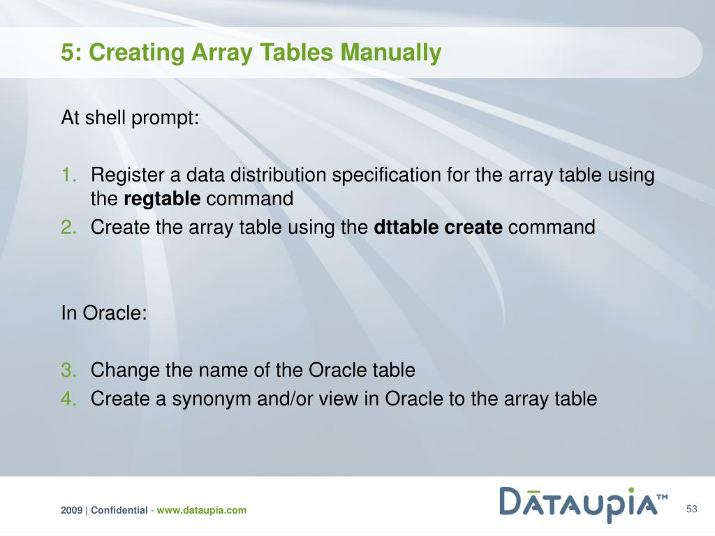 5: Creating Array Tables Manually