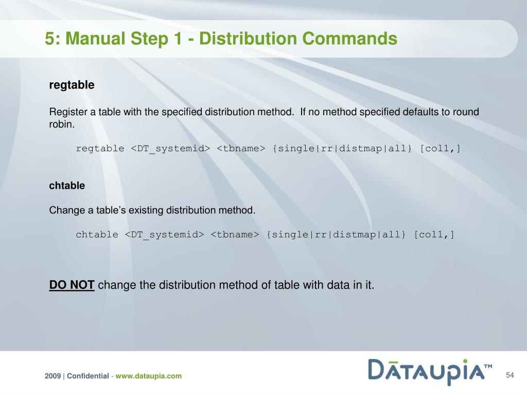 5: Manual Step 1 - Distribution Commands