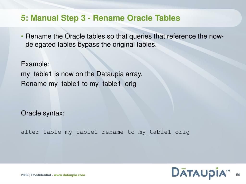 5: Manual Step 3 - Rename Oracle Tables