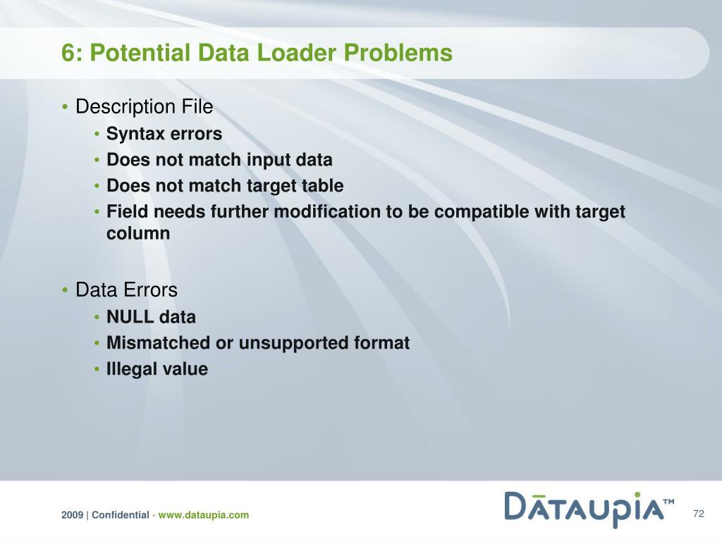 6: Potential Data Loader Problems