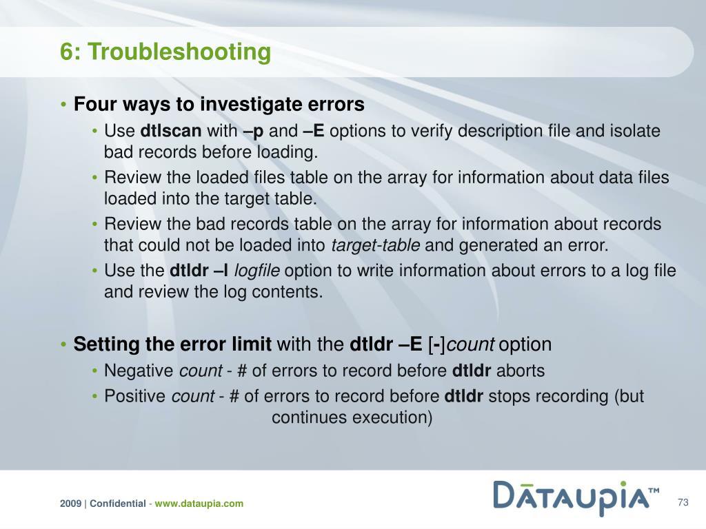 6: Troubleshooting