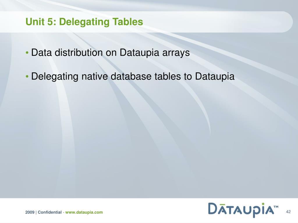 Unit 5: Delegating Tables