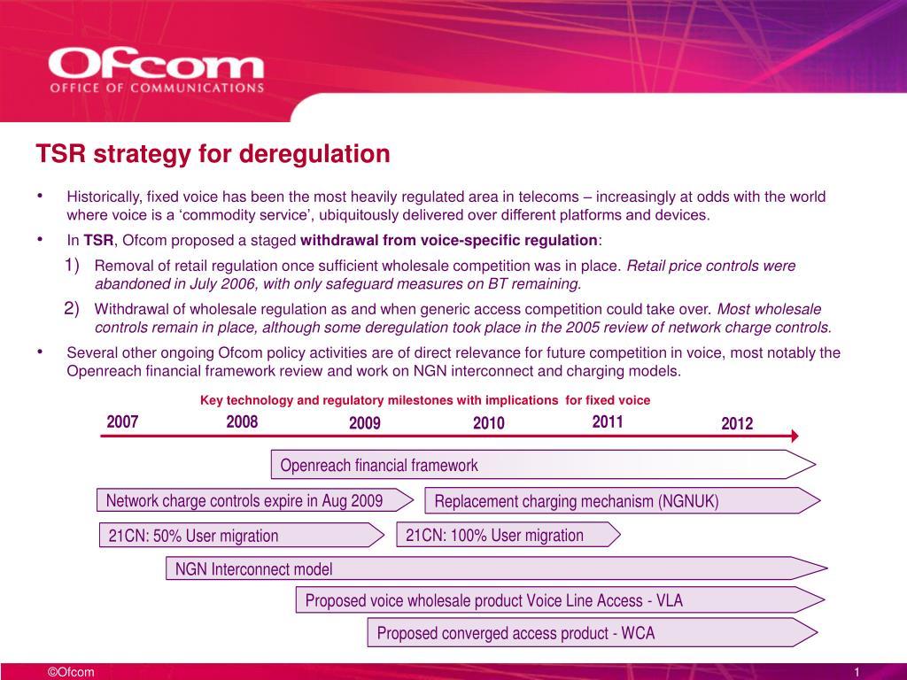 TSR strategy for deregulation