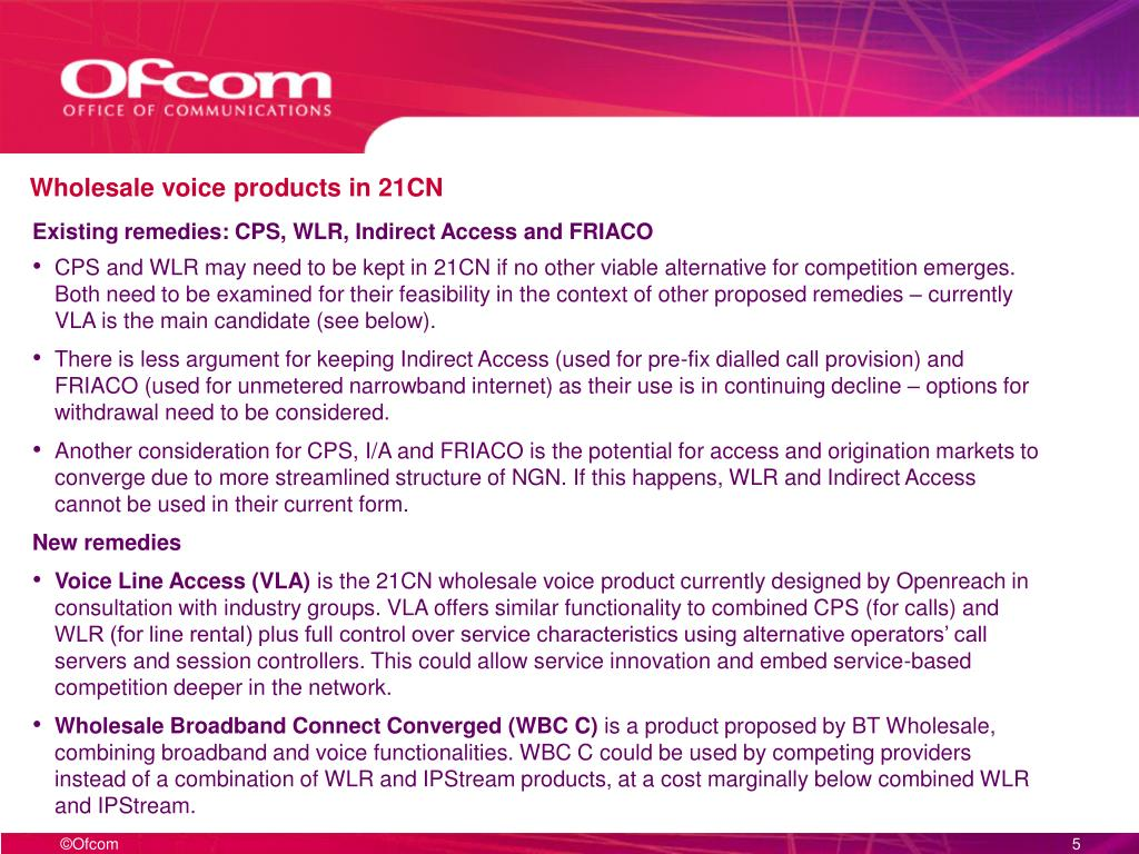 Wholesale voice products in 21CN