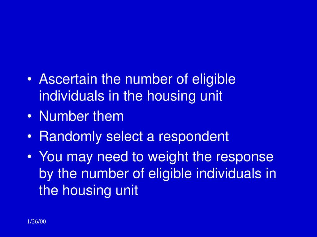 Ascertain the number of eligible individuals in the housing unit