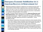 emergency economic stabilization act american recovery reinvestment act