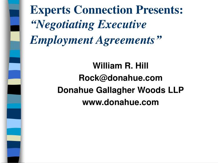 Ppt  Experts Connection Presents Negotiating Executive Employment