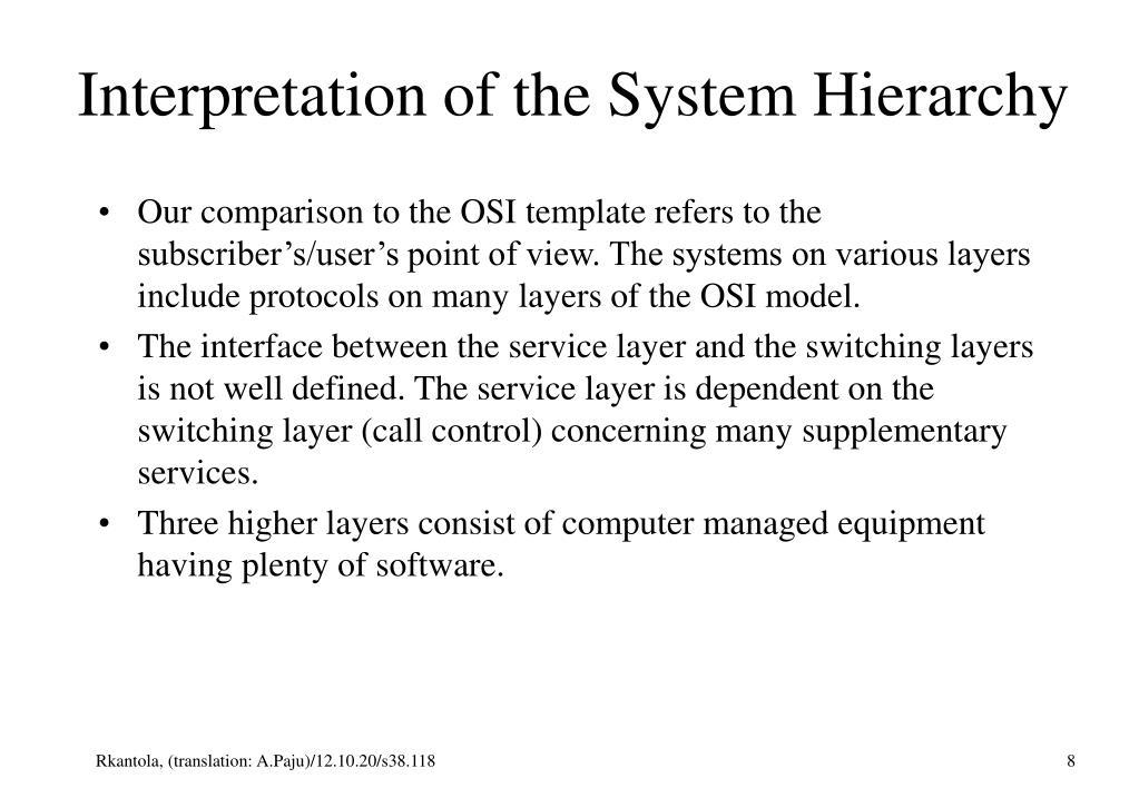 Interpretation of the System Hierarchy
