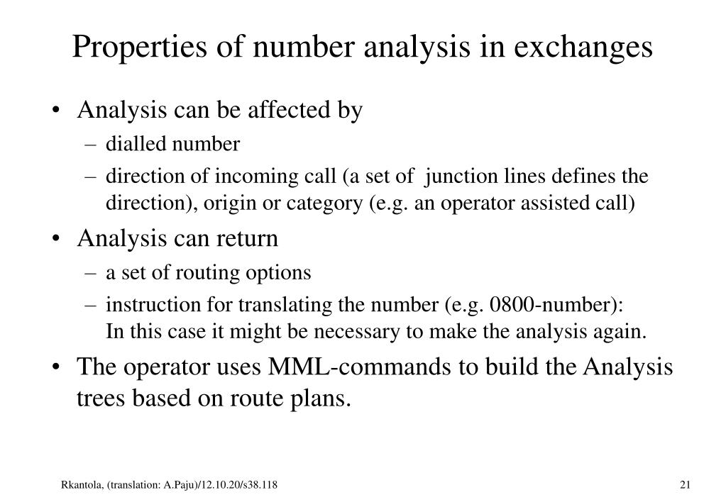 Properties of number analysis in exchanges