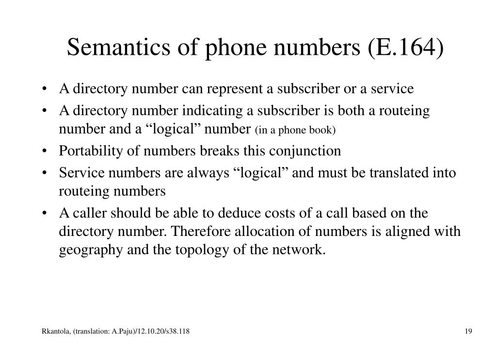 Semantics of phone numbers (E.164)