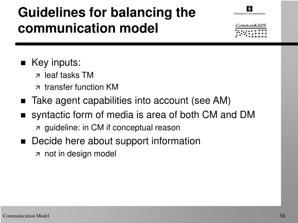 Guidelines for balancing the communication model