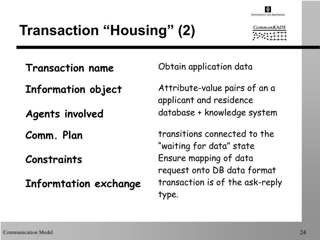 """Transaction """"Housing"""" (2)"""