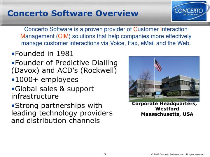 Concerto software overview
