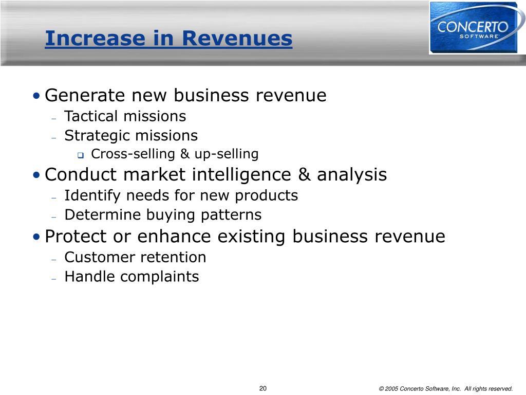 Increase in Revenues